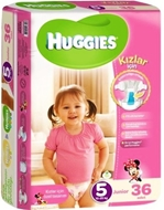 Picture of Huggies Bebek Bezi Jumbo Junior Kız No:5 12-25 Kg 32 Ped